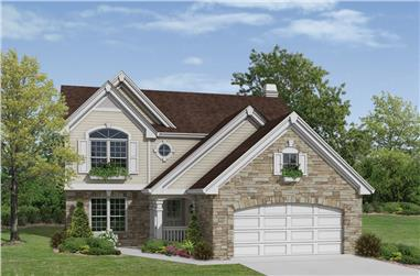 4-Bedroom, 2167 Sq Ft Traditional Home Plan - 138-1169 - Main Exterior