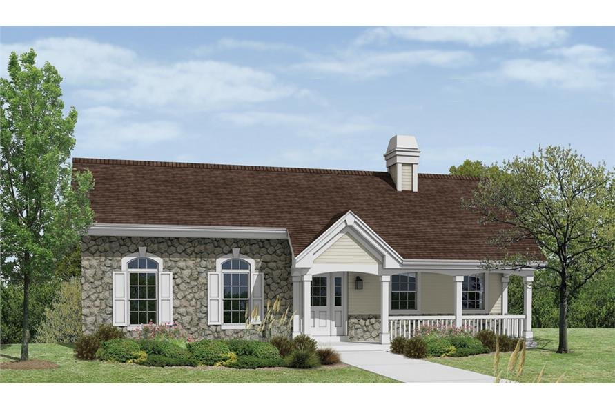 Front elevation of Ranch home (ThePlanCollection: House Plan #138-1170)