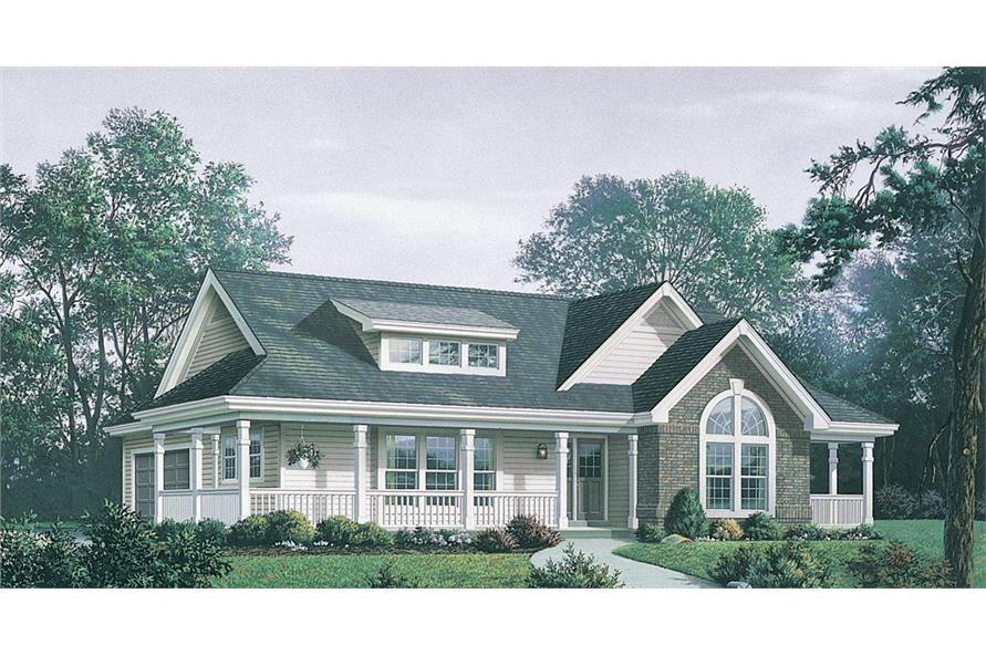 Front elevation of Country home (ThePlanCollection: House Plan #138-1171)