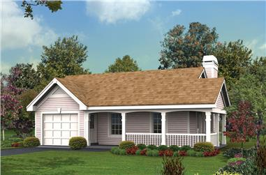Front elevation of Cottage home (ThePlanCollection: House Plan #138-1173)