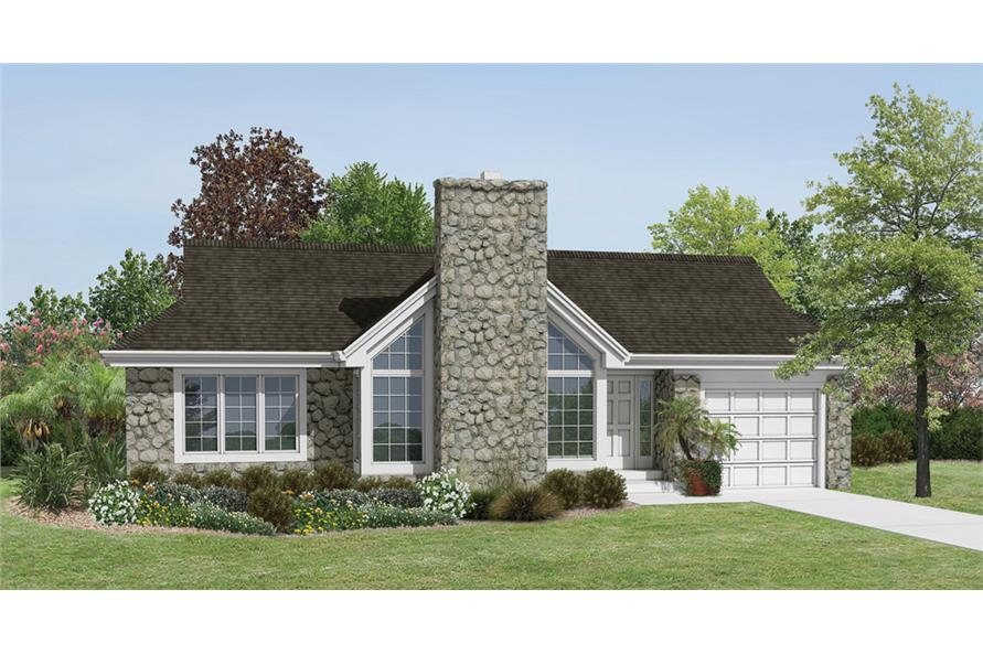 Front elevation of Cottage home (ThePlanCollection: House Plan #138-1174)
