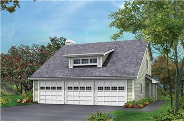 2-Bedroom, 1005 Sq Ft Garage w/Apartments Home Plan - 138-1176 - Main Exterior