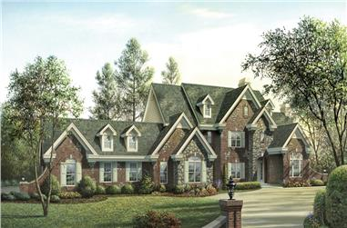 Front elevation of European home (ThePlanCollection: House Plan #138-1180)