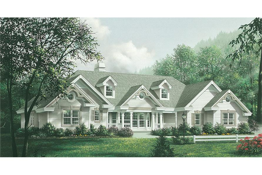 Front elevation of Traditional home (ThePlanCollection: House Plan #138-1181)