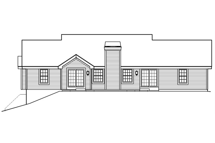 Home Plan Rear Elevation of this 5-Bedroom,1941 Sq Ft Plan -138-1182