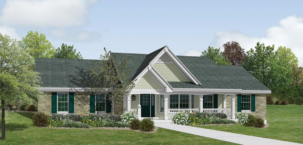 Front elevation of Ranch home (ThePlanCollection: House Plan #138-1182)