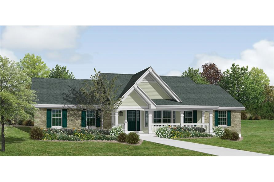 5-Bedroom, 1941 Sq Ft Ranch House Plan - 138-1182 - Front Exterior