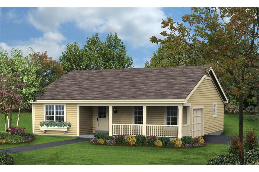 Front elevation of Ranch home (ThePlanCollection: House Plan #138-1185)