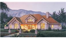 Front elevation of Ranch home (ThePlanCollection: House Plan #138-1186)