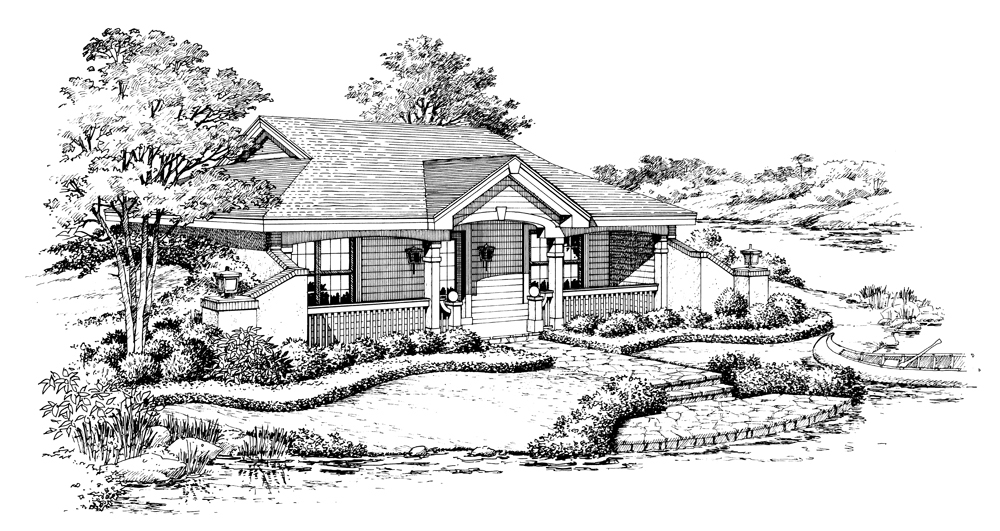 Tiny Home Designs: Vacation Homes House Plan #138-1187: 1 Bedrm, 809 Sq Ft
