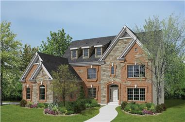 4-Bedroom, 3974 Sq Ft Traditional Home Plan - 138-1189 - Main Exterior