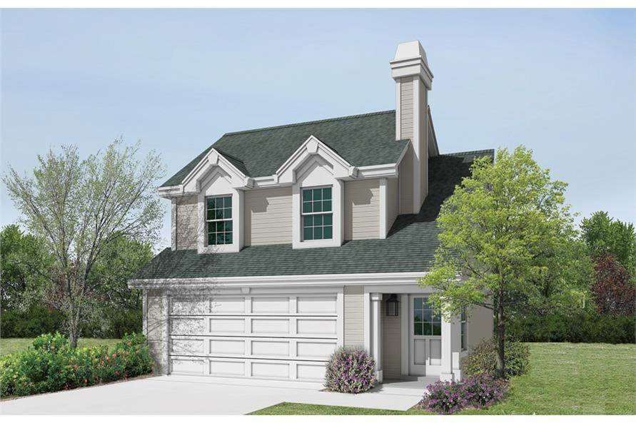 Front elevation of Garage w/Apartments home (ThePlanCollection: House Plan #138-1190)