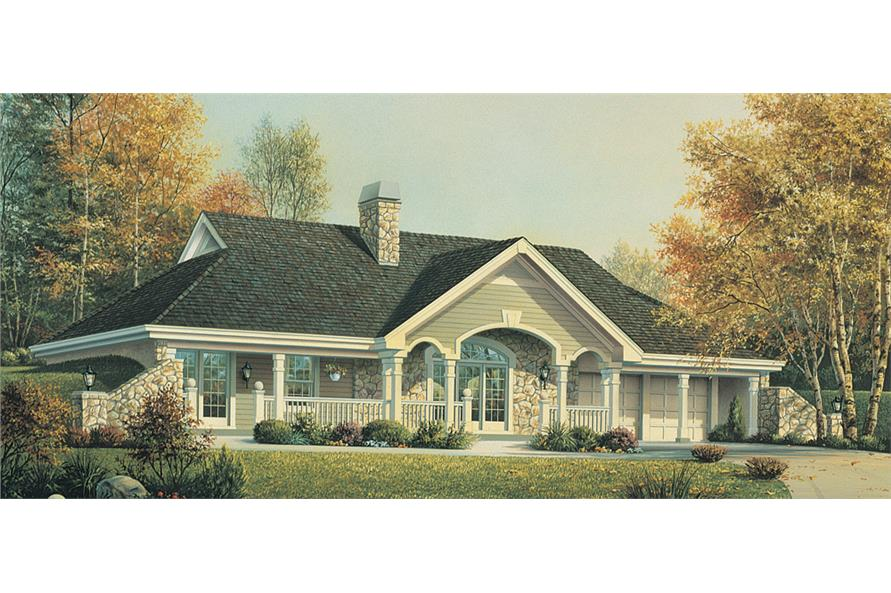 Front elevation of Ranch home (ThePlanCollection: House Plan #138-1193)