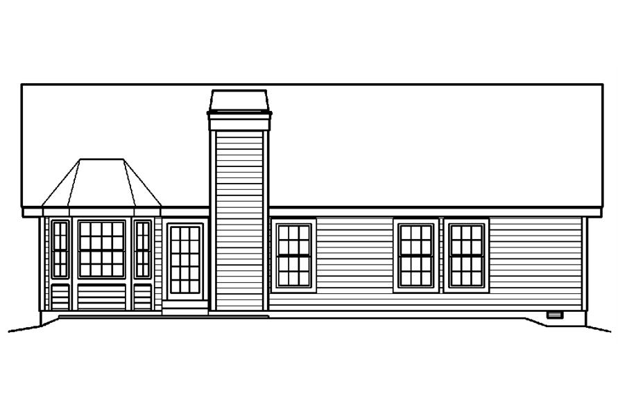 Home Plan Rear Elevation of this 4-Bedroom,1519 Sq Ft Plan -138-1194