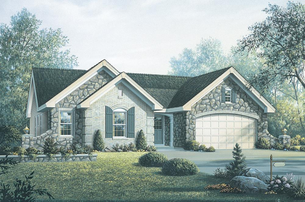 Front elevation of Ranch home (ThePlanCollection: House Plan #138-1194)