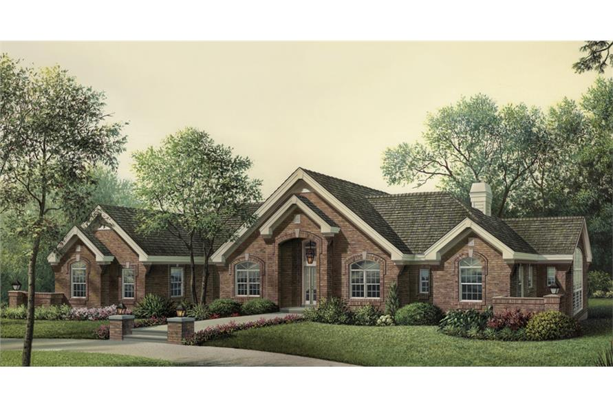 Front elevation of Ranch home (ThePlanCollection: House Plan #138-1195)