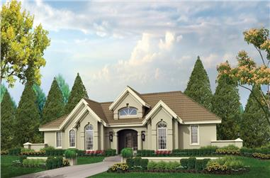 Front elevation of Ranch home (ThePlanCollection: House Plan #138-1196)