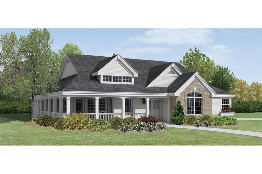 Front elevation of Ranch home (ThePlanCollection: House Plan #138-1199)