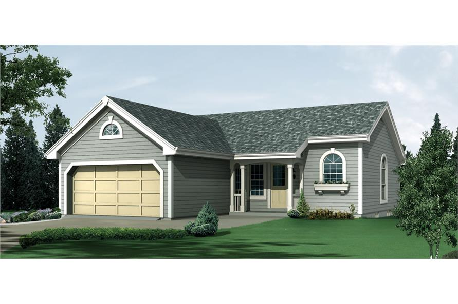 Front elevation of Ranch home (ThePlanCollection: House Plan #138-1202)