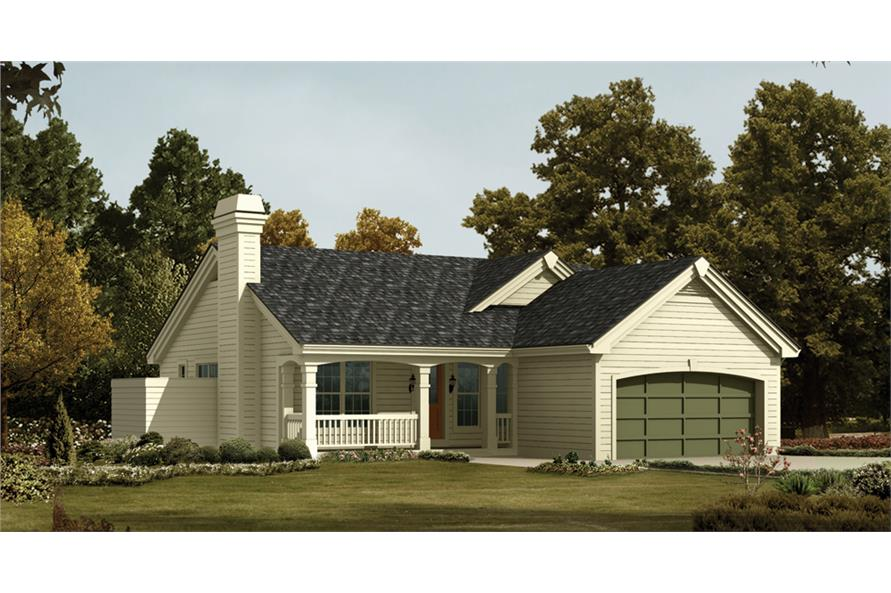 Front elevation of Ranch home (ThePlanCollection: House Plan #138-1203)