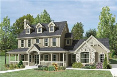 4-Bedroom, 2368 Sq Ft Country Home Plan - 138-1204 - Main Exterior