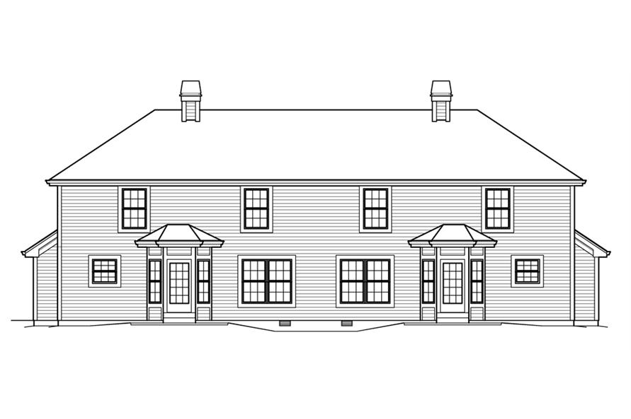 Home Plan Rear Elevation of this 3-Bedroom,3056 Sq Ft Plan -138-1206
