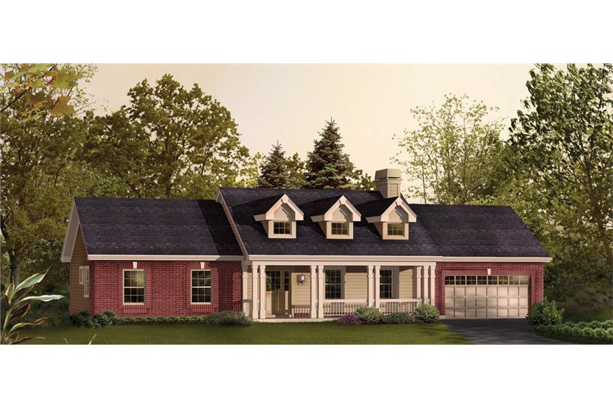 Front elevation of Ranch home (ThePlanCollection: House Plan #138-1207)