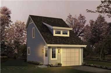 1-Bedroom, 342 Sq Ft Garage w/Apartments House Plan - 138-1208 - Front Exterior