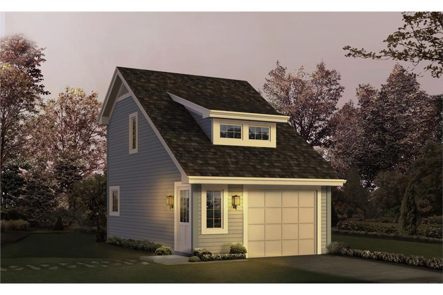 Front elevation of Garage w/Apartments home (ThePlanCollection: House Plan #138-1208)