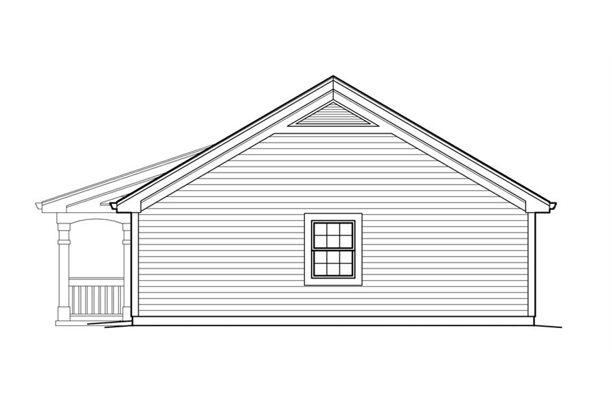 Home Plan Right Elevation of this 1-Bedroom,496 Sq Ft Plan -138-1212