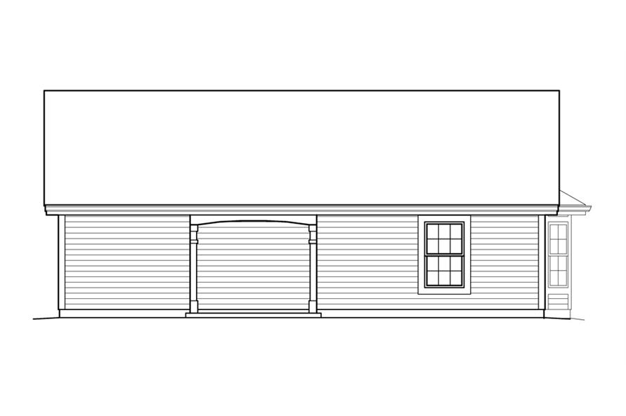Home Plan Rear Elevation of this 1-Bedroom,496 Sq Ft Plan -138-1212