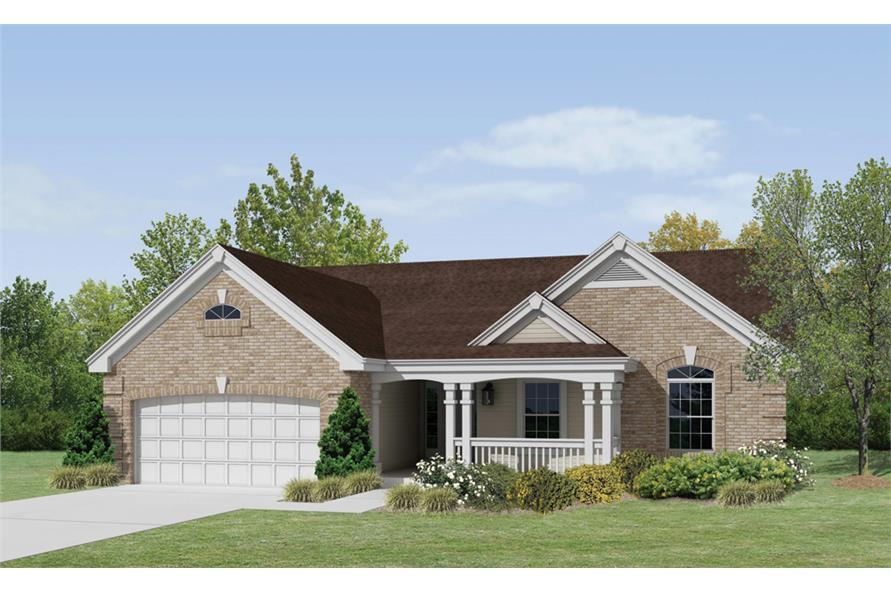 Front elevation of Ranch home (ThePlanCollection: House Plan #138-1217)