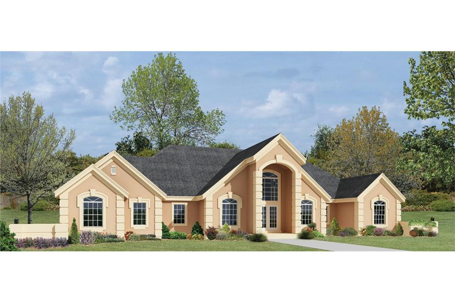 Front elevation of Ranch home (ThePlanCollection: House Plan #138-1221)
