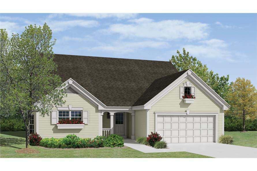 Front elevation of Country home (ThePlanCollection: House Plan #138-1222)
