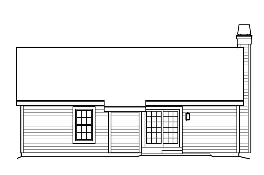 Home Plan Rear Elevation of this 3-Bedroom,1202 Sq Ft Plan -138-1223