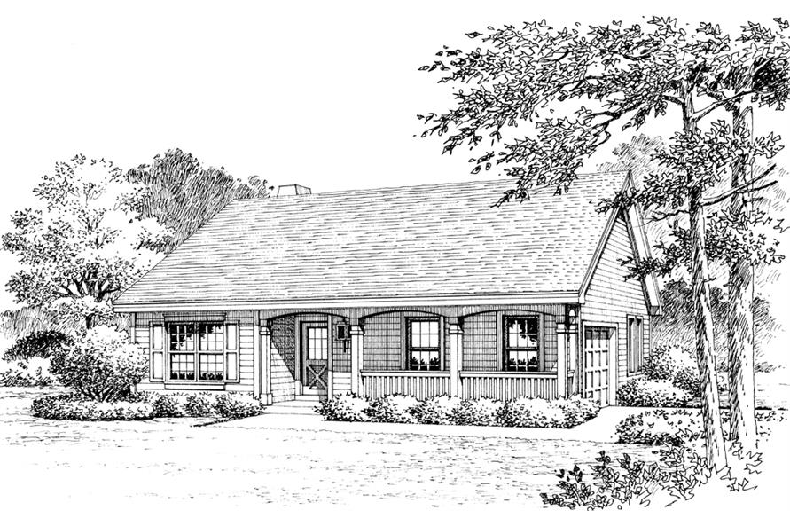 Home Plan Rendering of this 3-Bedroom,1202 Sq Ft Plan -138-1223