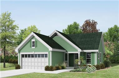 3-Bedroom, 1140 Sq Ft Country House Plan - 138-1226 - Front Exterior