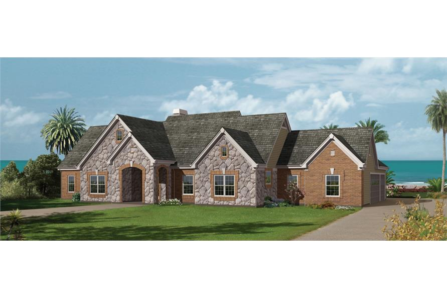 Front elevation of Ranch home (ThePlanCollection: House Plan #138-1229)