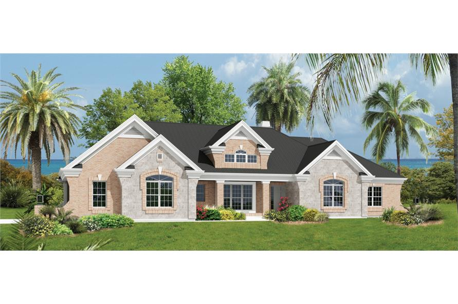 Front elevation of Ranch home (ThePlanCollection: House Plan #138-1230)