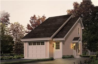 1-Bedroom, 656 Sq Ft Garage w/Apartments House Plan - 138-1231 - Front Exterior