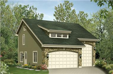 1-Bedroom, 713 Sq Ft Garage w/Apartments House Plan - 138-1232 - Front Exterior
