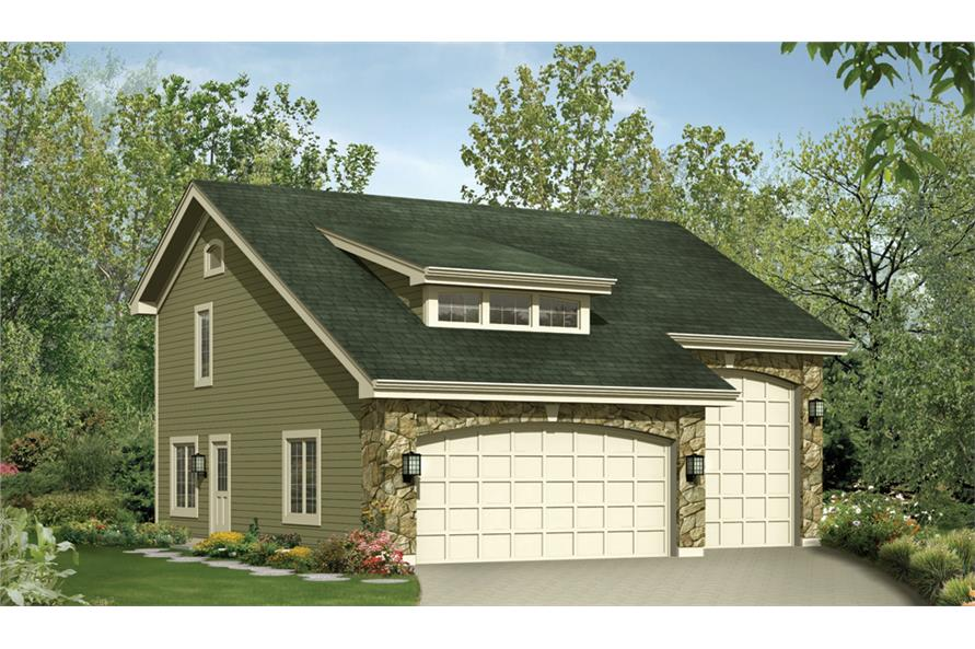 Front elevation of Garage w/Apartments home (ThePlanCollection: House Plan #138-1232)