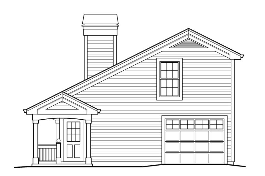 Home Plan Right Elevation of this 1-Bedroom,641 Sq Ft Plan -138-1233