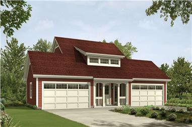 1-Bedroom, 1026 Sq Ft Garage w/Apartments House Plan - 138-1235 - Front Exterior