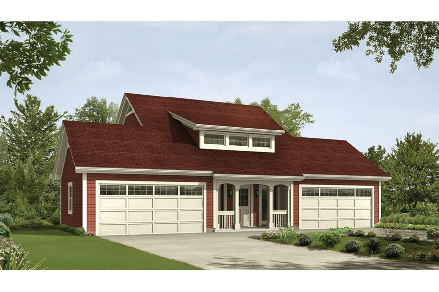 Front elevation of Garage w/Apartments home (ThePlanCollection: House Plan #138-1235)