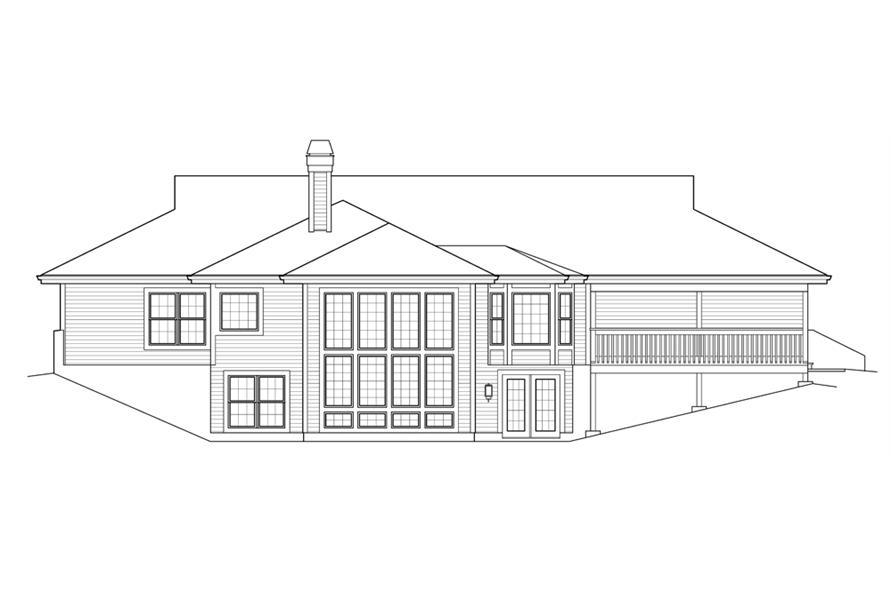 Home Plan Rear Elevation of this 3-Bedroom,2163 Sq Ft Plan -138-1238
