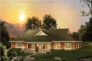 Front elevation of Ranch home (ThePlanCollection: House Plan #138-1238)