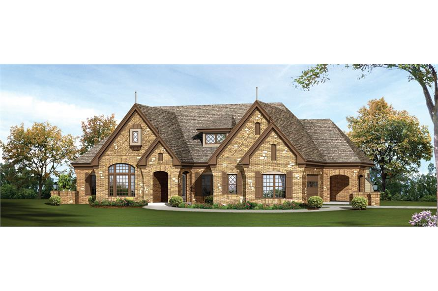 Front elevation of European home (ThePlanCollection: House Plan #138-1239)