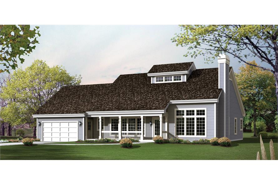 Front elevation of Transitional home (ThePlanCollection: House Plan #138-1242)