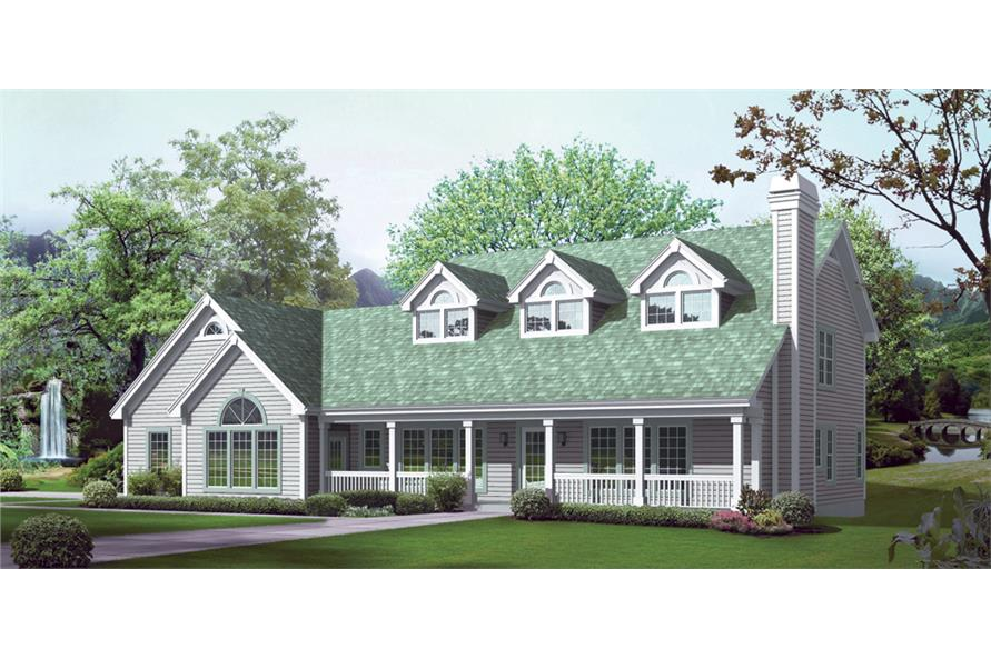 Front elevation of Traditional home (ThePlanCollection: House Plan #138-1243)